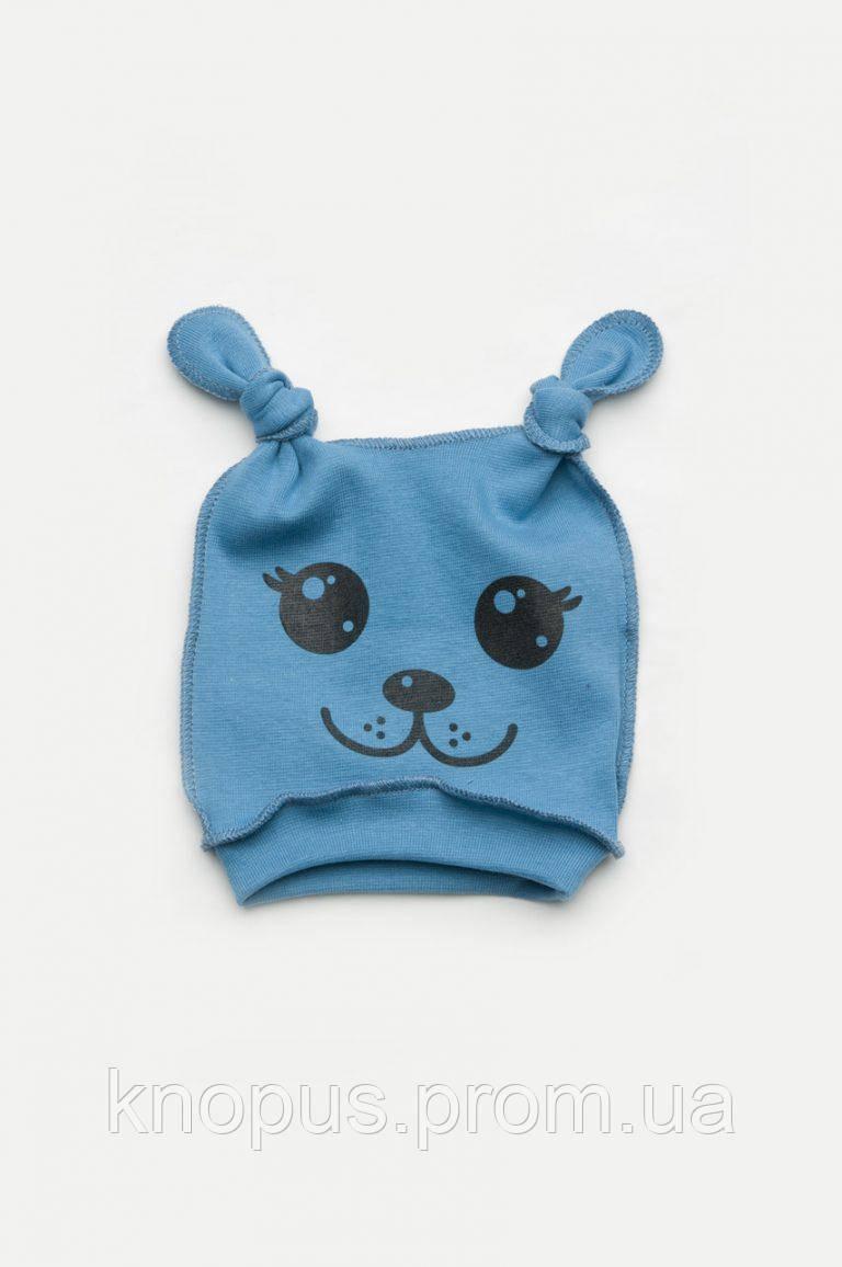 Трикотажная шапка для новорожденного, два узла, голубая, серая, Модный карапуз, размеры 36- 44 см