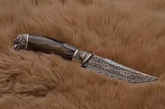 """Нож ручной работы из мозаичного дамаска """"Сокол"""", оригинальный подарок мужу, отцу, шефу или коллекционеру ножей, фото 2"""