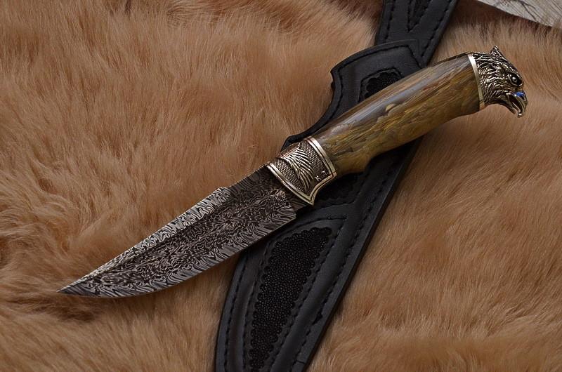"""Нож ручной работы из мозаичного дамаска """"Сокол"""", оригинальный подарок мужу, отцу, шефу или коллекционеру ножей"""