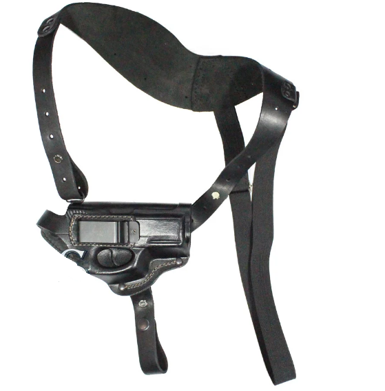 Кобура оперативная из плотной кожи для пистолета Crosman C11 со скобой, накладка на пояс