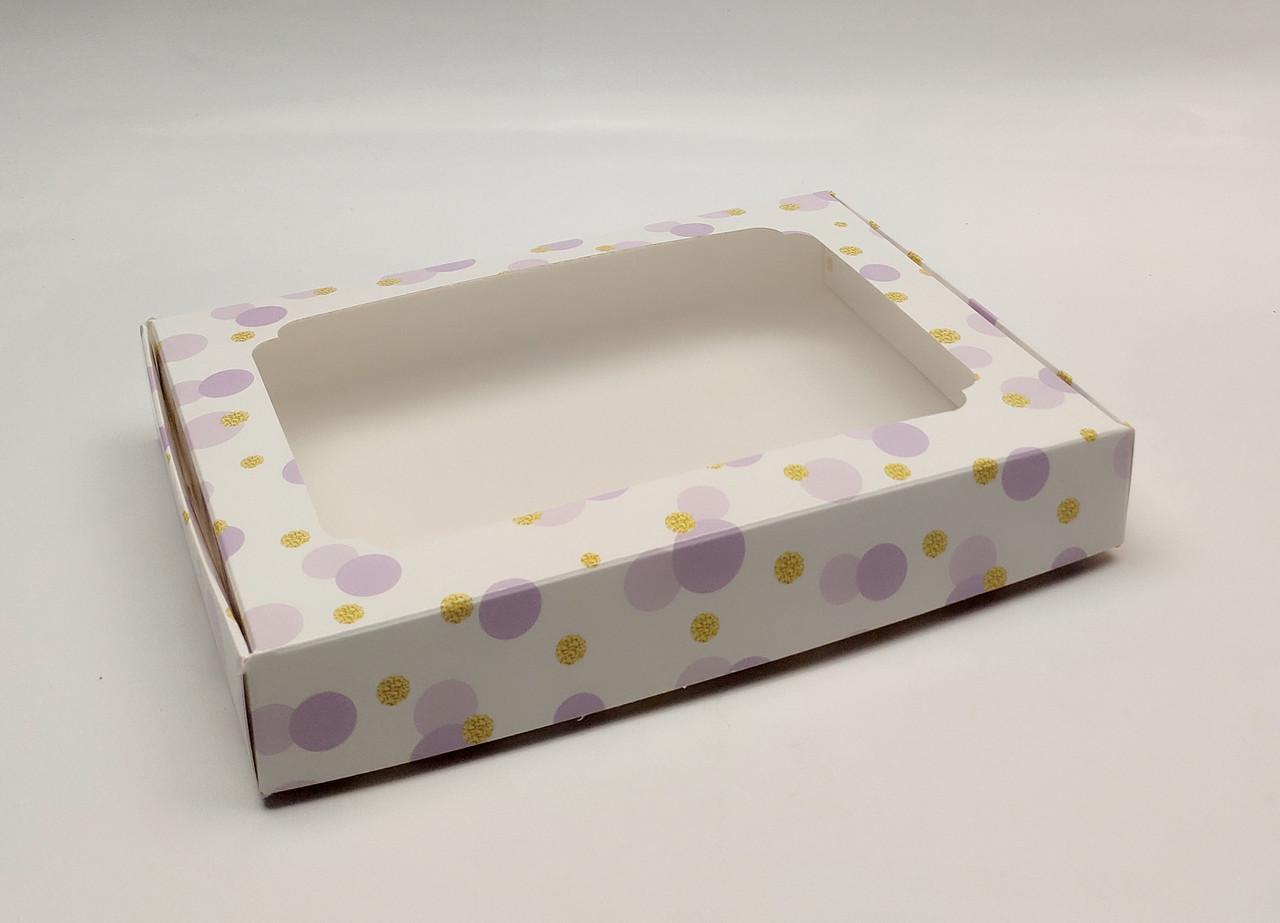 """Коробка для пряников """"Фиолетовые пузыри с окном 20*15*3 см"""" 5 шт"""