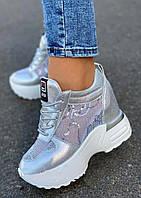 Стильные женские кроссовки сникерсы серебристого цвета с сеточкой