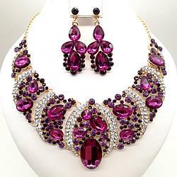 """Комплект SONATA """"Шарм"""" (Кольє + сережки), фіолетові камені, 63354 (1)"""