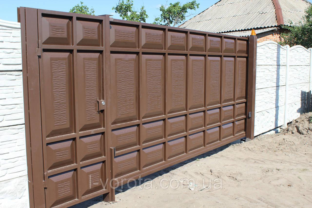Сдвижные филенчатые ворота ш3500, в2100 и калитка ш1000, в2100 (асимметричные филенки)