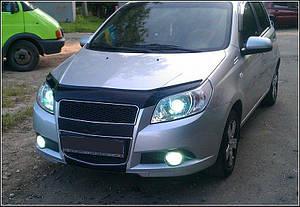 Мухобойка, дефлектор капота Chevrolet Aveo с 2008-2011 г.в.( х/б)