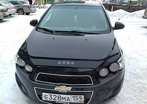 Мухобойка, дефлектор капота Chevrolet Aveo с 2011- г.в.
