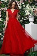 Вечернее красное длинное платье с юбкой из габардина и сетки 42
