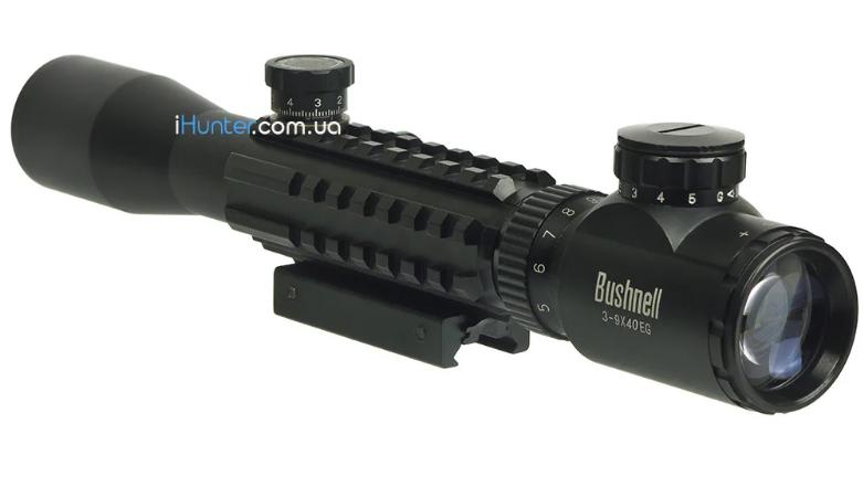 Оптический прицел BUSHNELL 3-9x40EG с подсветкой шкалы изменяемой кратности универсальная планка