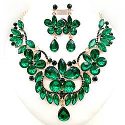 Комплект SONATA (Кольє + сережки), зелені камені, 63072 (1)