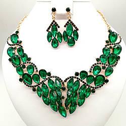 Комплект SONATA (Колье + серьги), зеленые камни, 63339       (1)