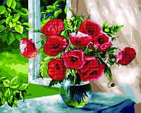 Алмазная картина-раскраска 40x50 Маки у окна, Rainbow Art (GZS1102)