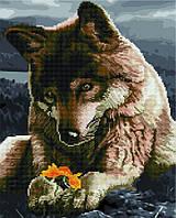 Алмазная картина-раскраска 40x50 Волк и цветок, Rainbow Art (GZS1078)