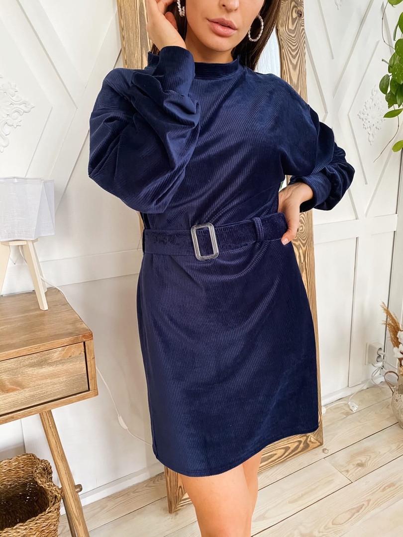 Женское стильное вельветовое платье,синего цвета