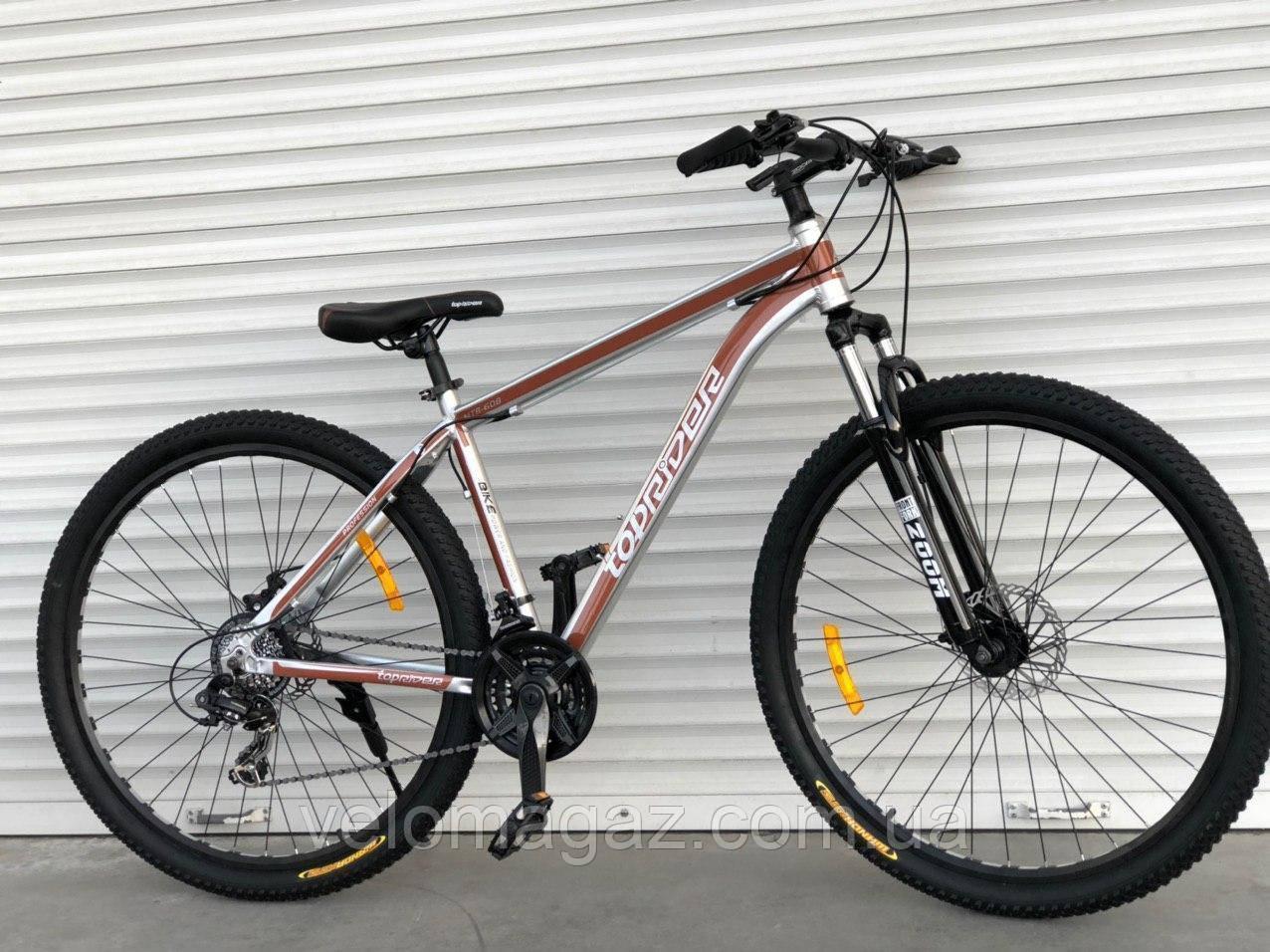 """Велосипед алюмінієвий гірський TopRider-680 29"""" сріблясто-коричневий"""