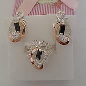 Срібний гарнітур Мікс із золотими вставками каблучка та сережки із цирконами різного розміру та кольору