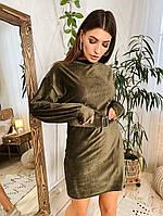 Женское стильное вельветовое платье,цвет хаки