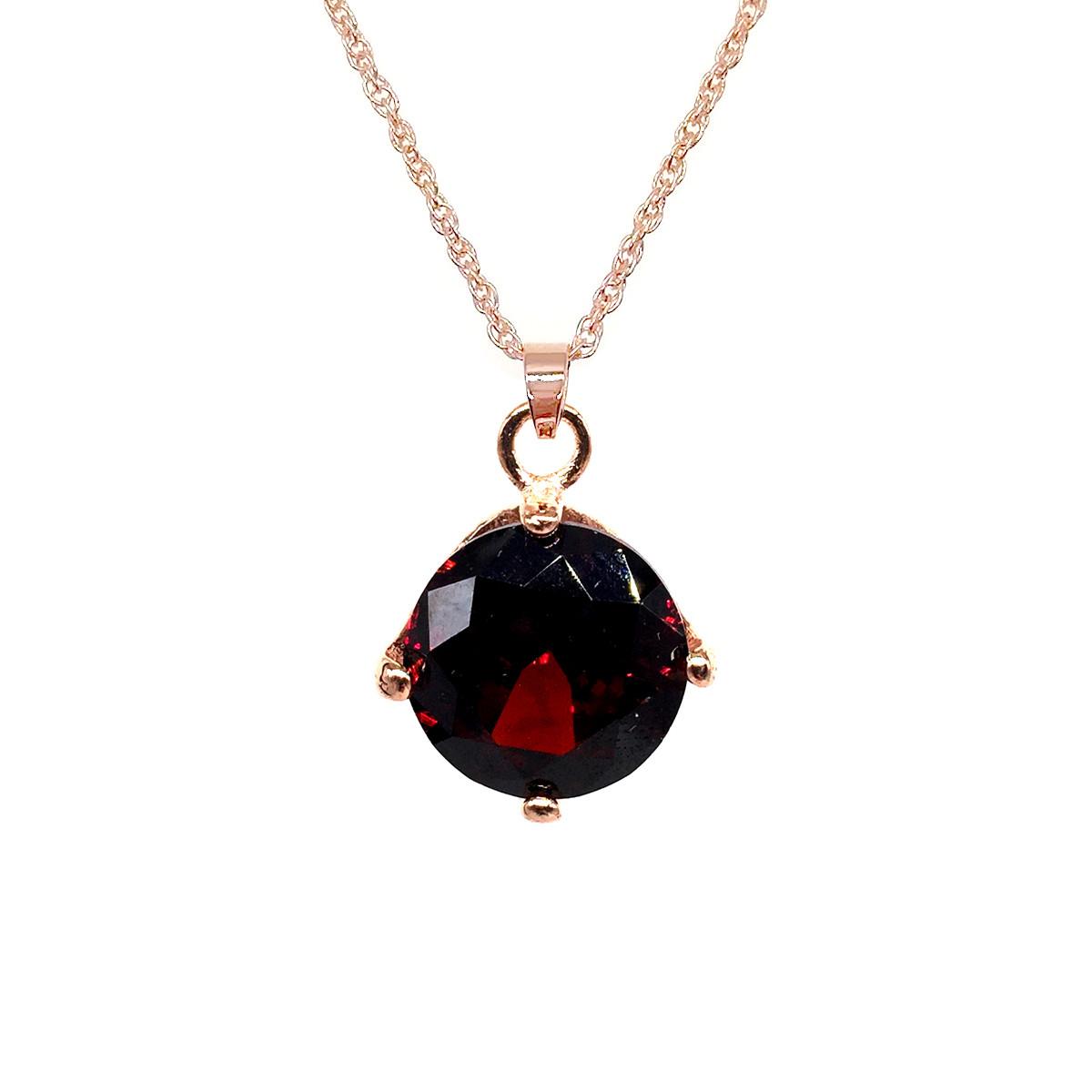 Подвеска на цепочке SONATA из медицинского золота, темно-красный фианит, позолота PO, 41937             (1)