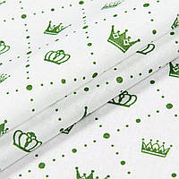 Ткань ситец Короны зелёный (555261)