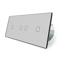 Сенсорный выключатель Livolo 4 канала (1-2-1) серый стекло (VL-C701/C702/C701-15), фото 1