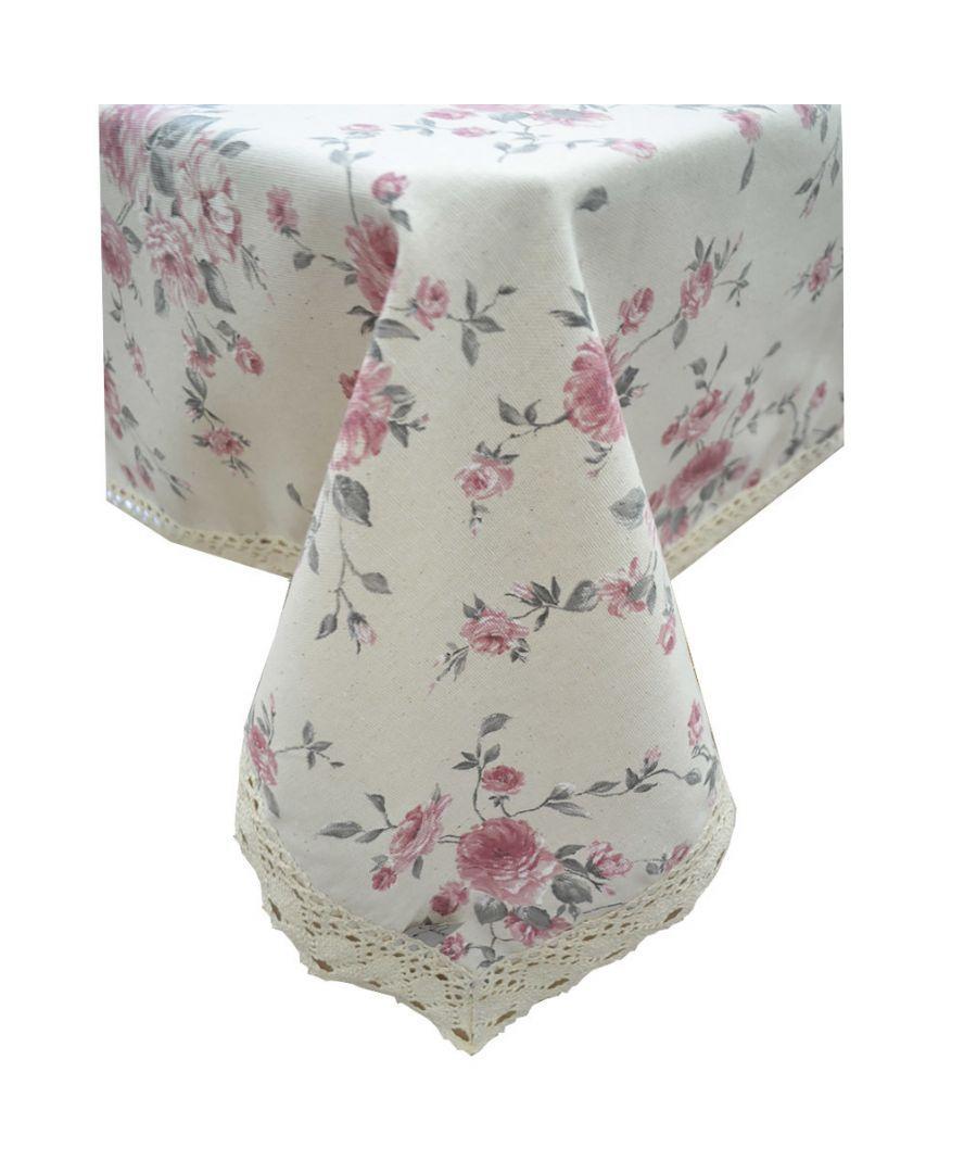 Скатерть на стол Bella цветы с кружевом 90*90 см