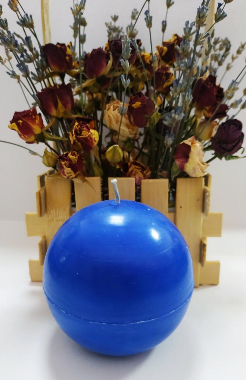 СВЕЧА синяя шар диаметр 7см