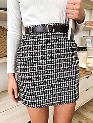 Женская стильная твидовая юбка с поясом