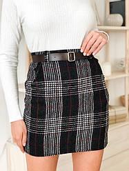 Женская стильная твидовая юбка в клетку