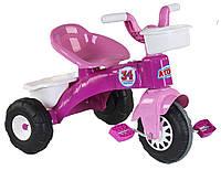 Велосипед трехколесный детский Pilsan пластиковый легкий розовый с белым Турция для девочек от 2 лет