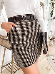 Женская модная твидовая юбка с поясом