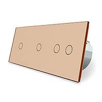 Сенсорный выключатель Livolo 4 канала (1-1-2) золото стекло (VL-C701/C701/C702-13), фото 1