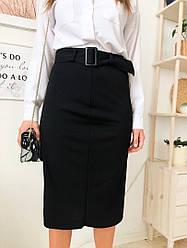 Женская стильная черная юбка-миди с поясом