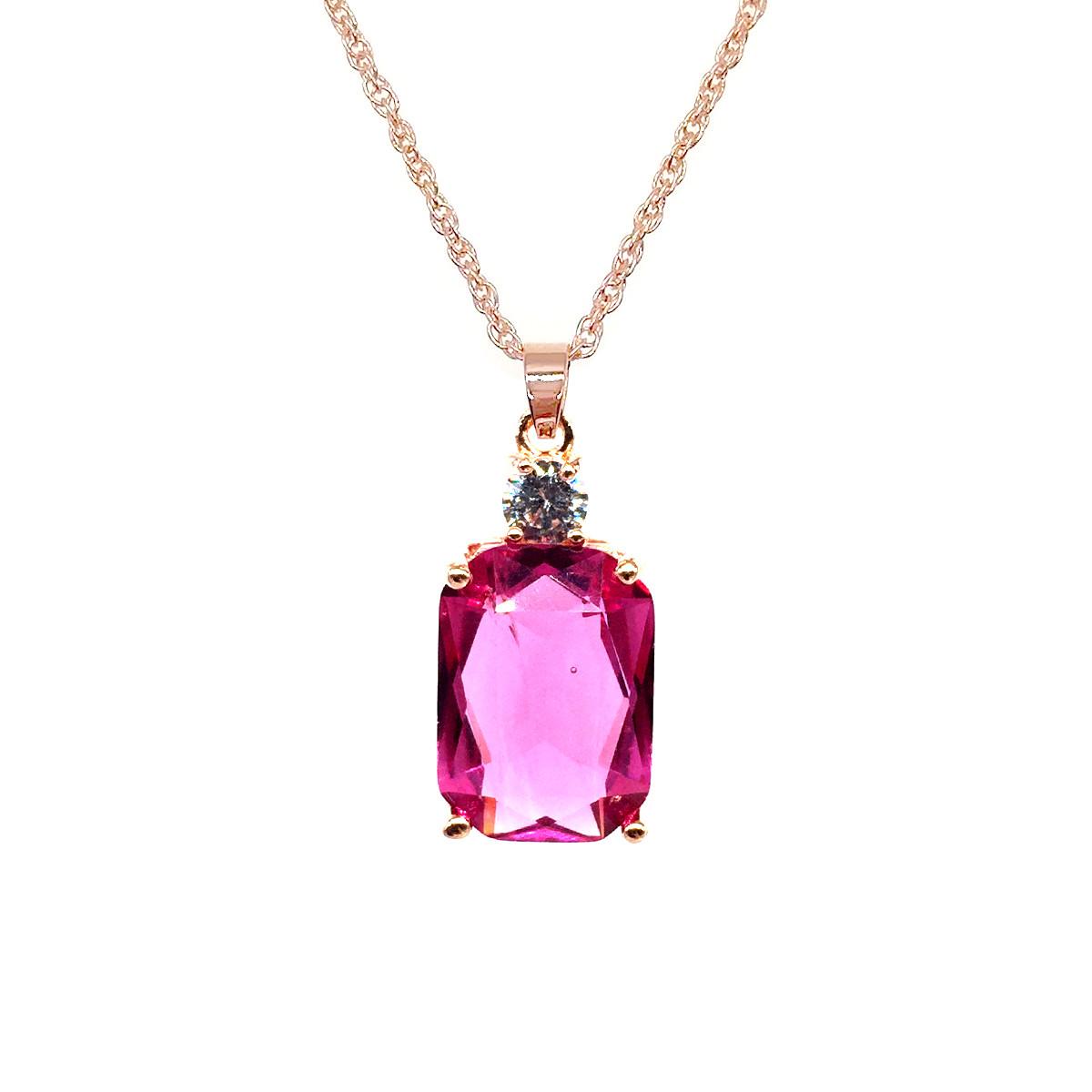 Подвеска на цепочке SONATA из медицинского золота, розовый фианит, позолота PO, 42102             (1)