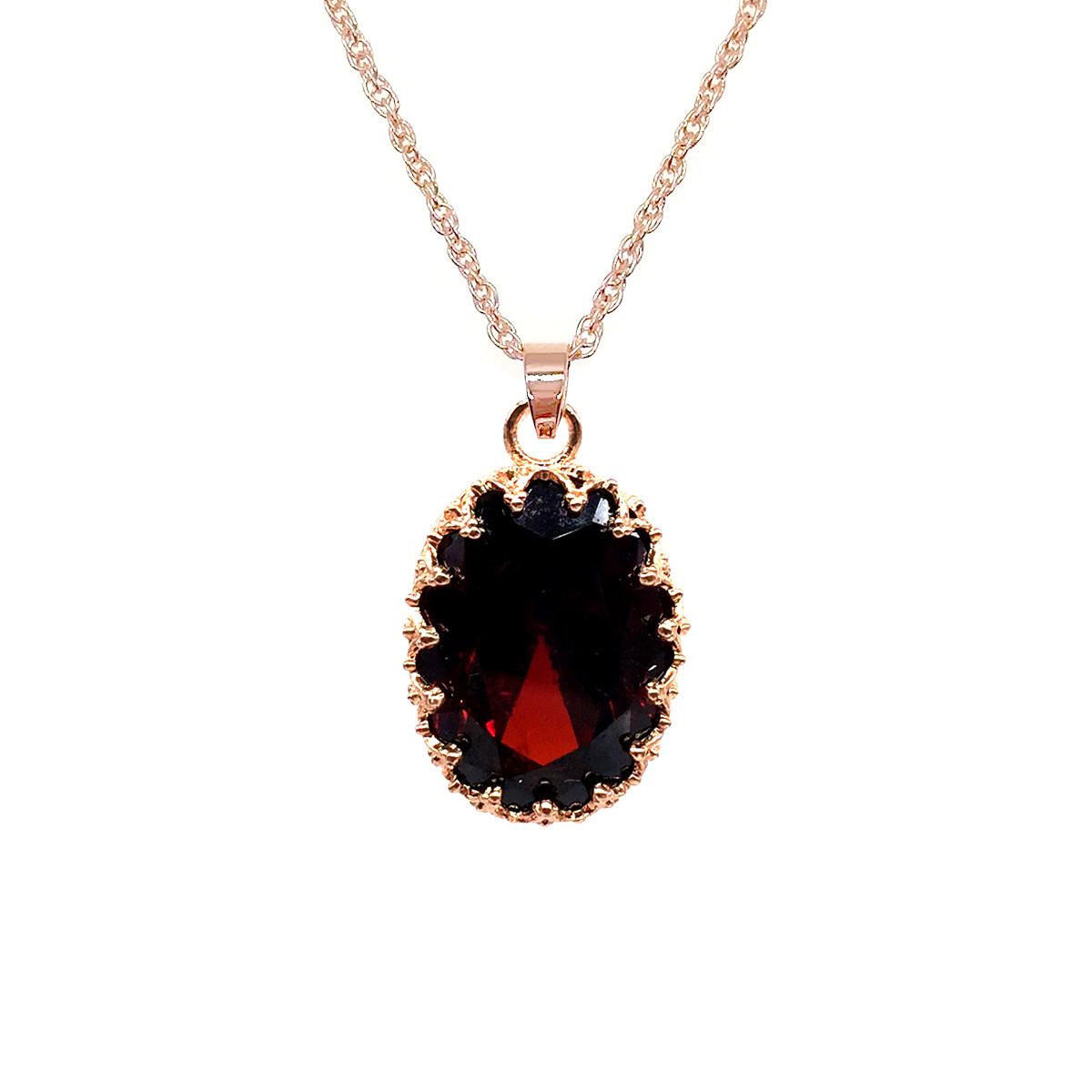 Подвеска на цепочке SONATA из медицинского золота, темно-красный фианит, позолота PO, 42088             (1)