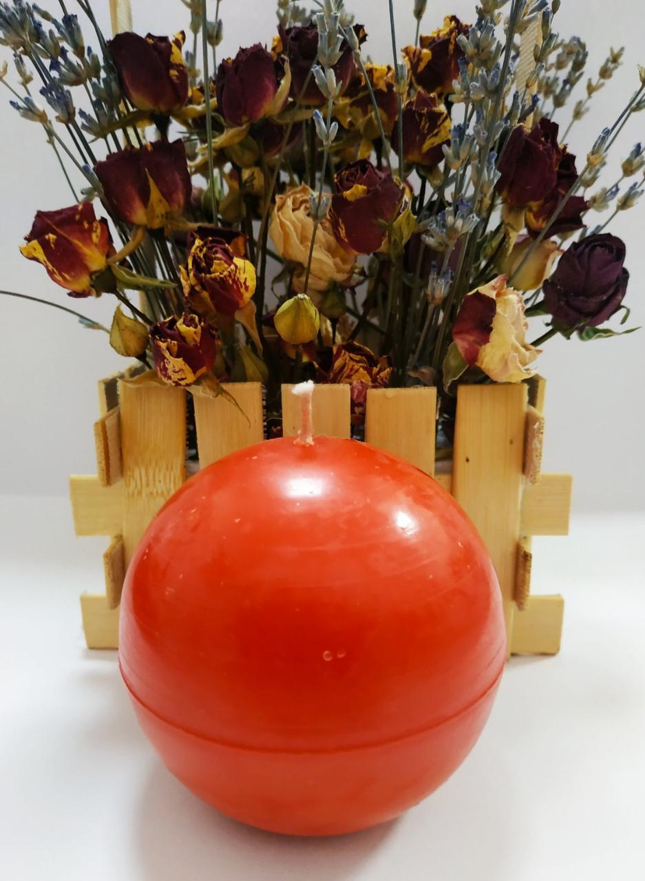 СВЕЧА шар красная диаметр 8см