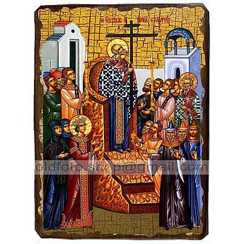 Икона Воздвижение Креста Господня ,икона на дереве 130х170 мм