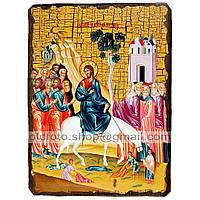 Икона Вход Господень в Иерусалим ,икона на дереве 130х170 мм