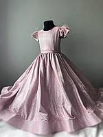 Детское Пудровое платье с блеском ( шиммер) Размер 34, фото 1