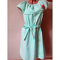 Платье женское летнее 50р.котон полоска бирюзовое