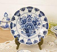 Настенная фарфоровая тарелка, бело-синий фарфор, Делфт, Delft, Голландия, фото 1