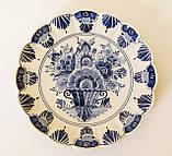 Настенная фарфоровая тарелка, бело-синий фарфор, Делфт, Delft, Голландия, фото 2