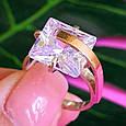 Серебряный комплект: серьги и кольцо с золотом и цирконием, фото 6