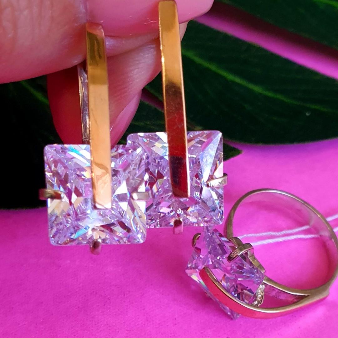 Серебряный комплект: серьги и кольцо с золотом и цирконием