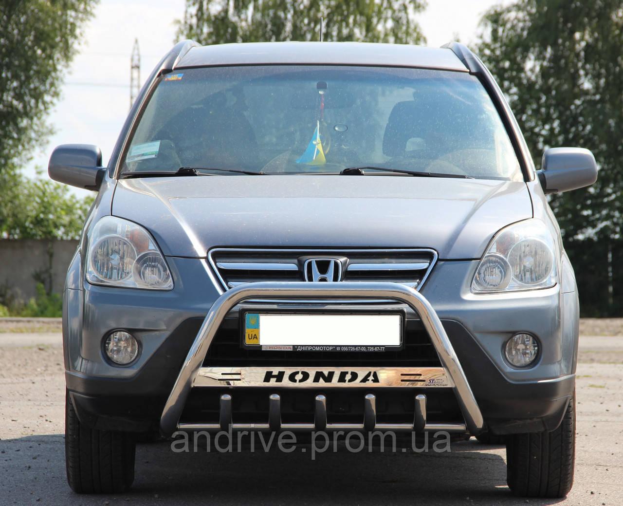 Кенгурятник с лого (защита переднего бампера) Honda CR-V 2001-2006