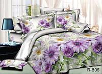 Постельное белье односпальное Ранфорс с цветами   R805