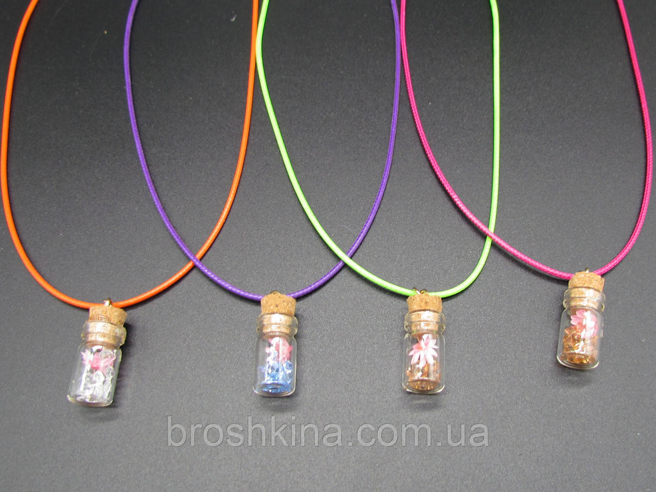 Кулоны Бутылочка желаний цветные 4 шт/уп.