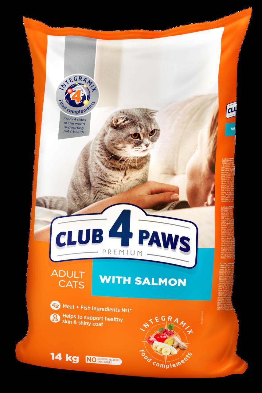 Сухой корм с лососем для взрослых кошек 14 кг CLUB 4 PAWS Клуб 4 Лапы