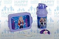 Контейнер для еды- ланч-бокс+Бутылочка для воды Стильные девочки