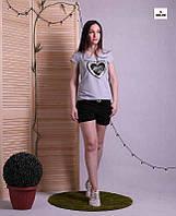 Костюм футболка и шорты женский летний трикотажный серый р.42-52, фото 1