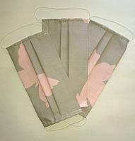 Маска захисна багаторазова, тканина бавовна, колір сірий з малюнком, фото 1
