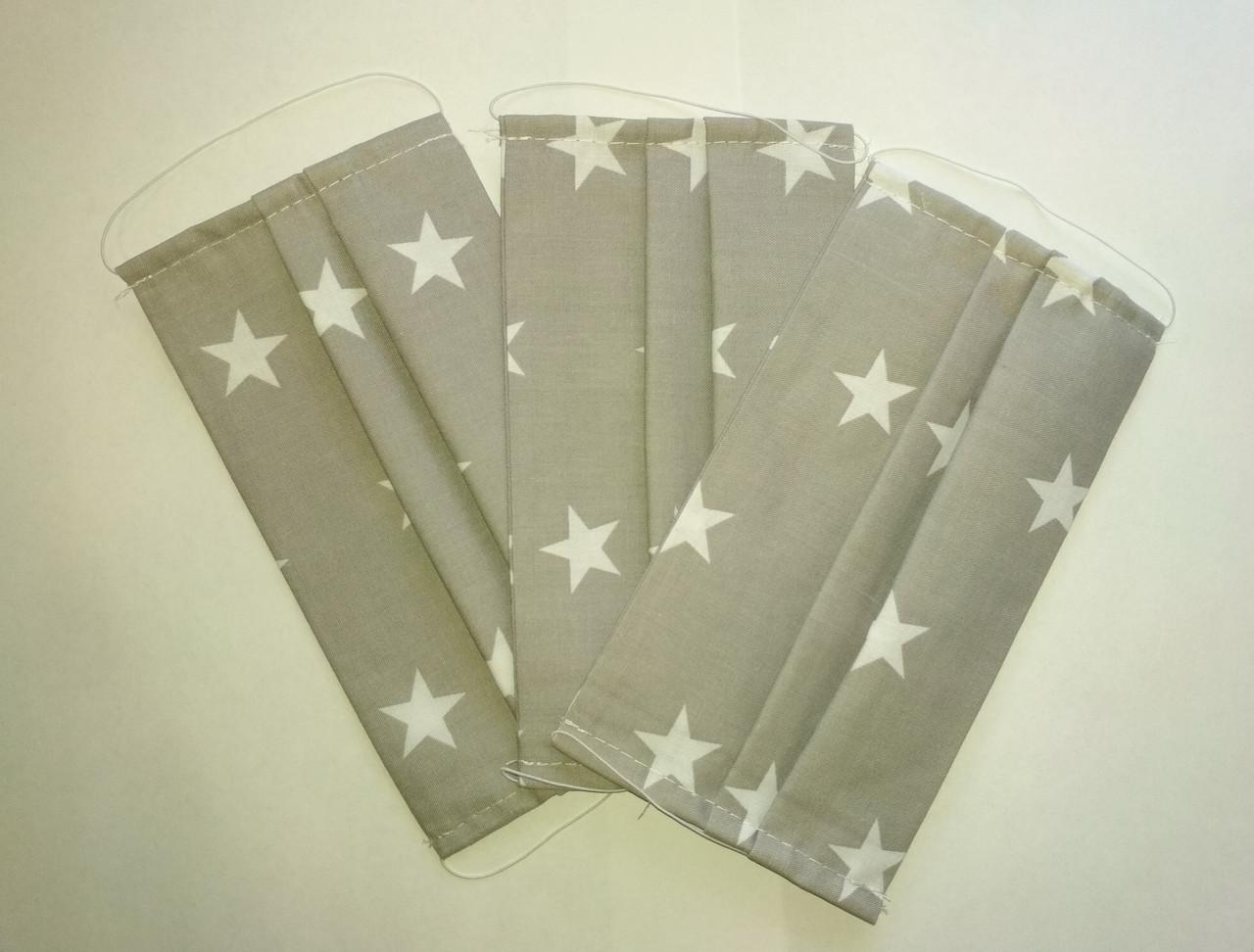 Маска захисна багаторазова, тканина бавовна, колір сірий з малюнком зірки